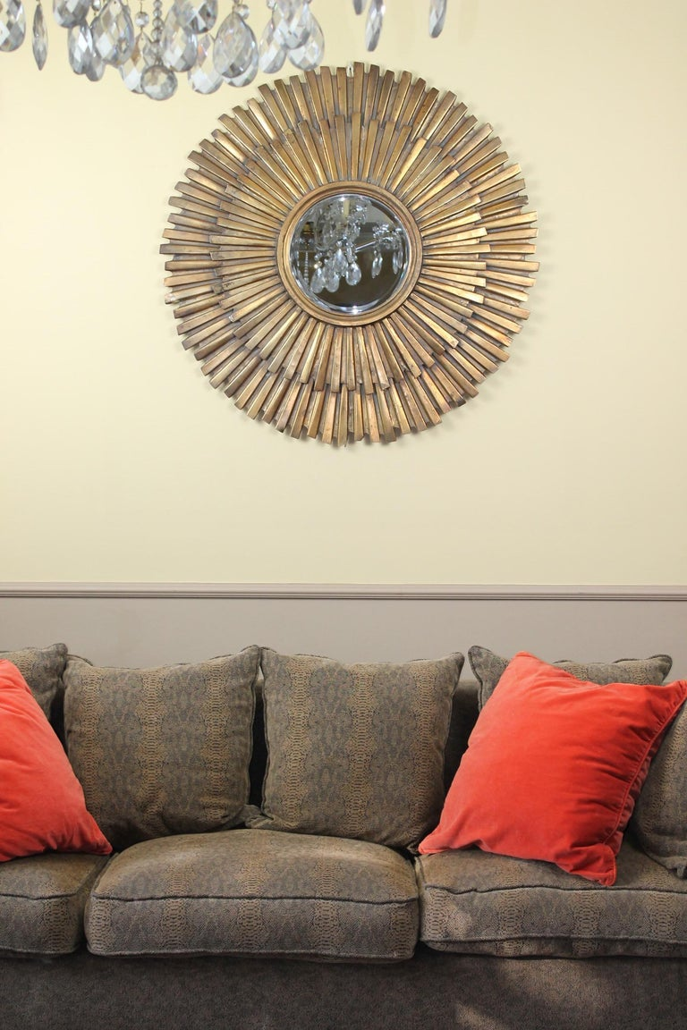 1960s Extra Large Gilded Metal Sunburst Mirror For Sale at ...