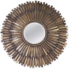 1960s Extra Large Gilded Metal Sunburst Mirror