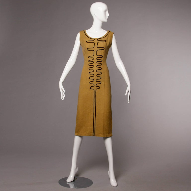Brown 1960s Extremely Rare Early Pre-Orange Label Missoni Dress with Mod Design For Sale