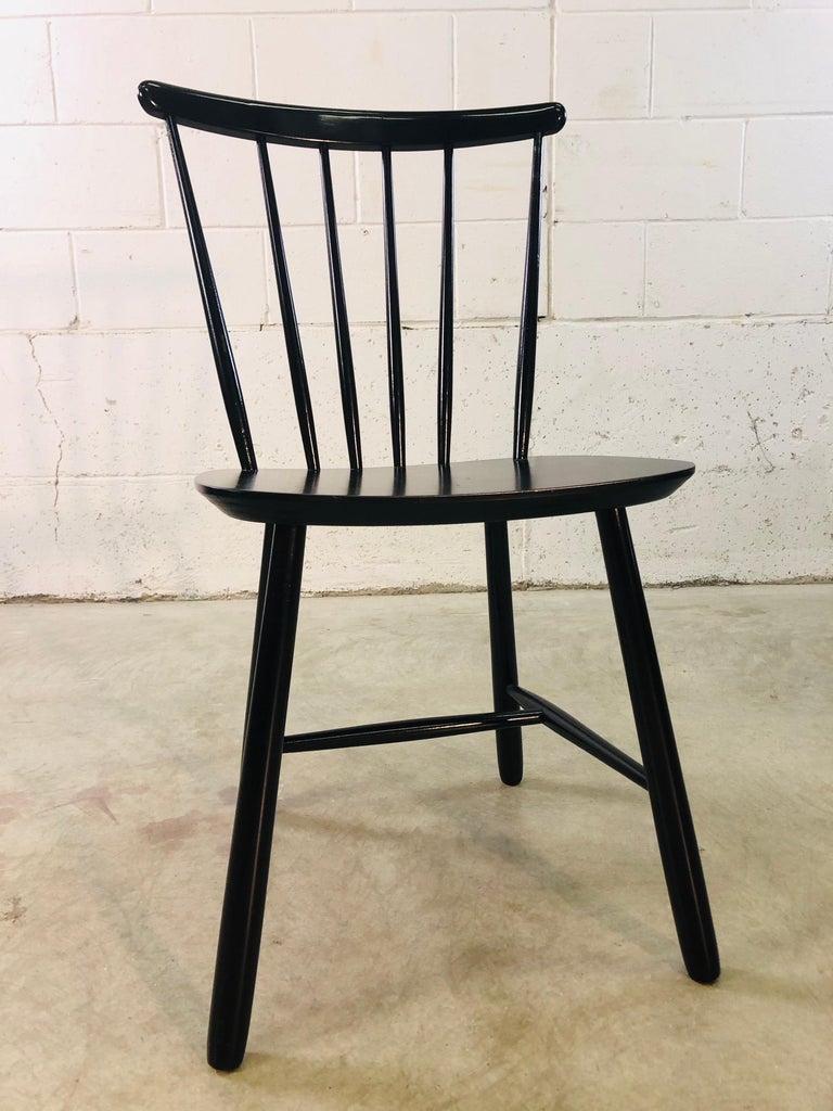 1960s Farstrup Danish Black Dining Chairs, Set of 3 For Sale 5