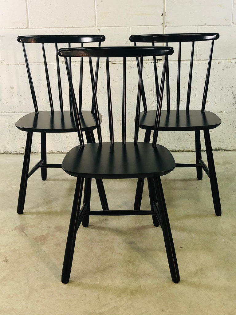 Vintage Danish set of 3 Farstrup Danish dining chairs. The chairs were designed by Thomas Harlev. Newly refinished and painted. Marked underneath. Very sturdy.