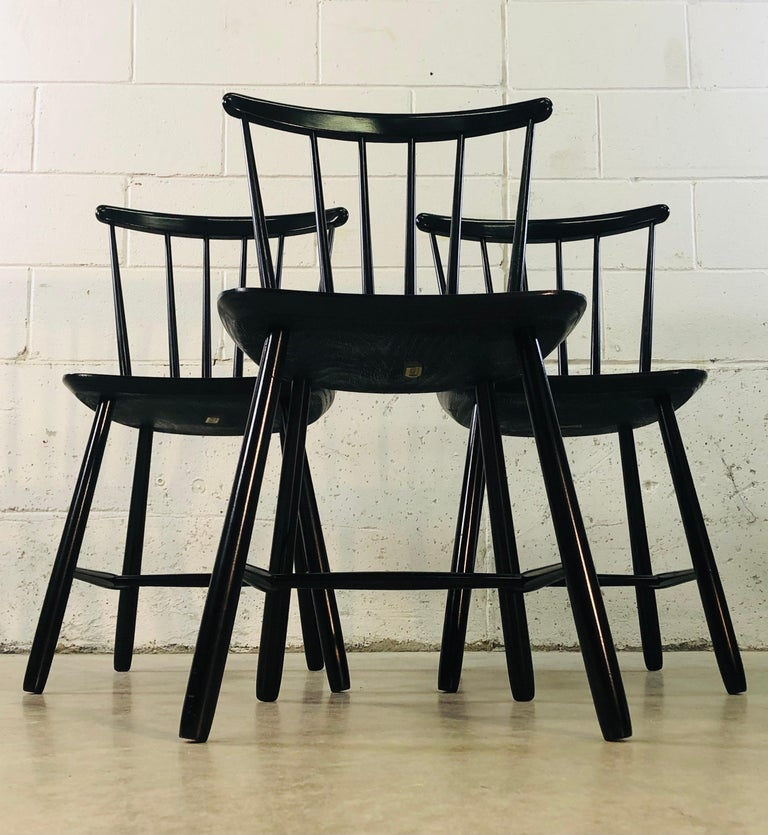 Scandinavian Modern 1960s Farstrup Danish Black Dining Chairs, Set of 3 For Sale