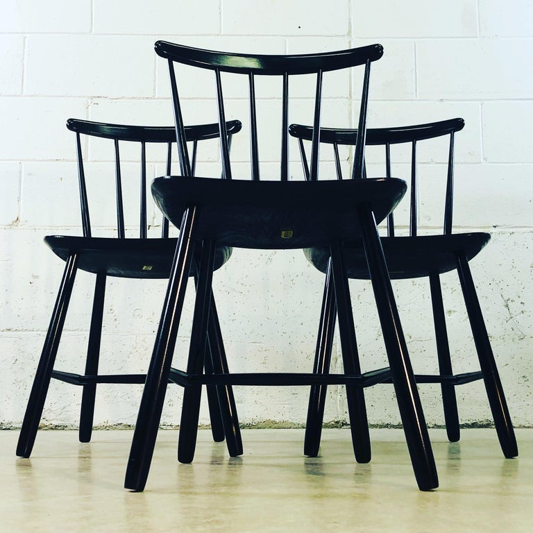 1960s Farstrup Danish Black Dining Chairs, Set of 3 In Good Condition For Sale In Amherst, NH