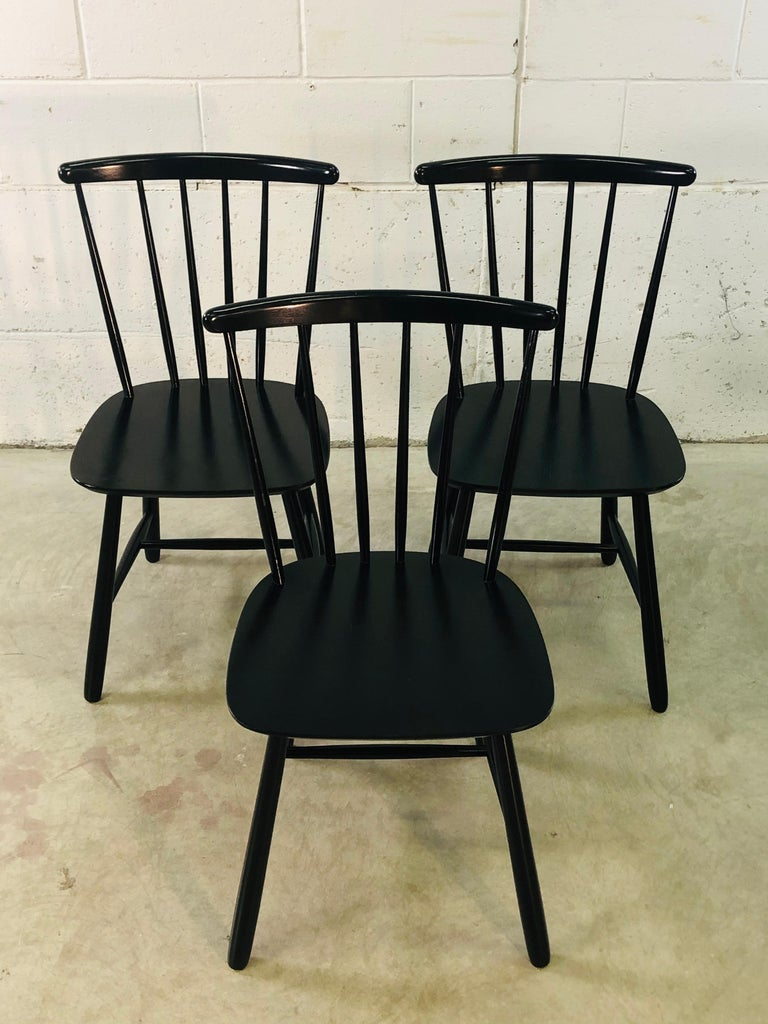 20th Century 1960s Farstrup Danish Black Dining Chairs, Set of 3 For Sale