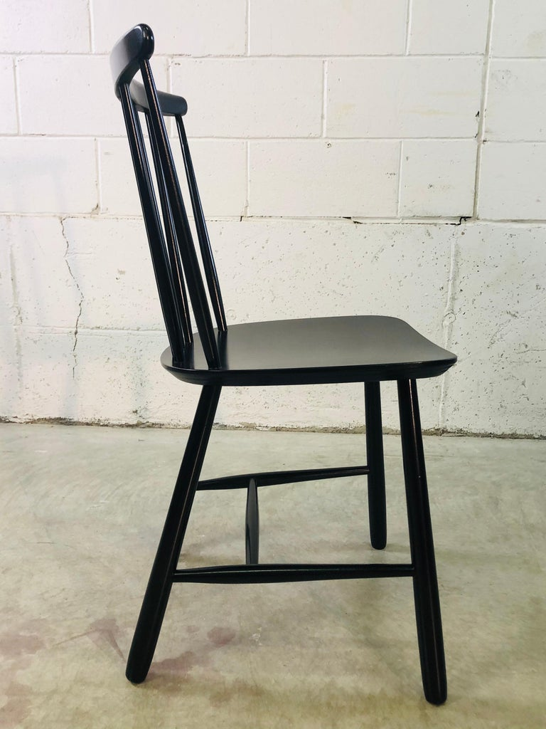 Wood 1960s Farstrup Danish Black Dining Chairs, Set of 3 For Sale