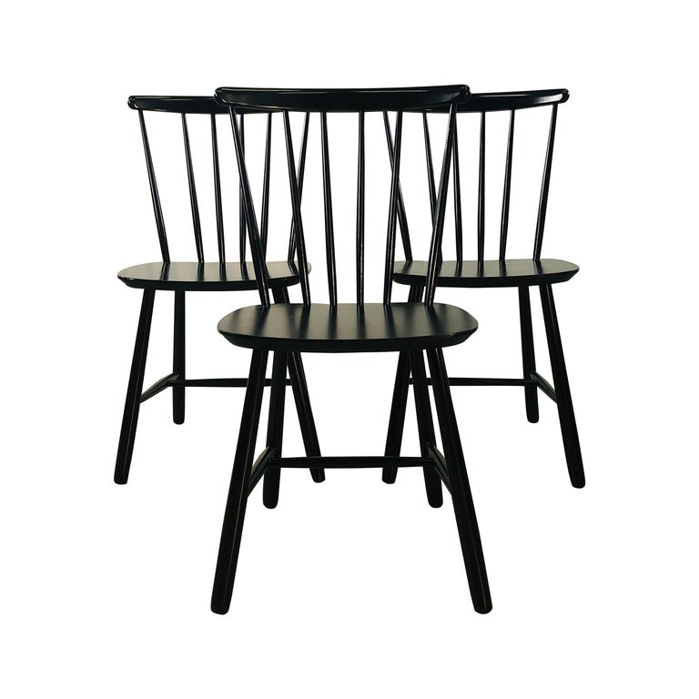 1960s Farstrup Danish Black Dining Chairs, Set of 3 For Sale