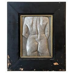 1960s Female Nude Torso Backside Cast Aluminum Wall Art Vintage Patina Signed