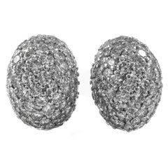 1960s Fine Diamond Platinum Bombe Ear Clips