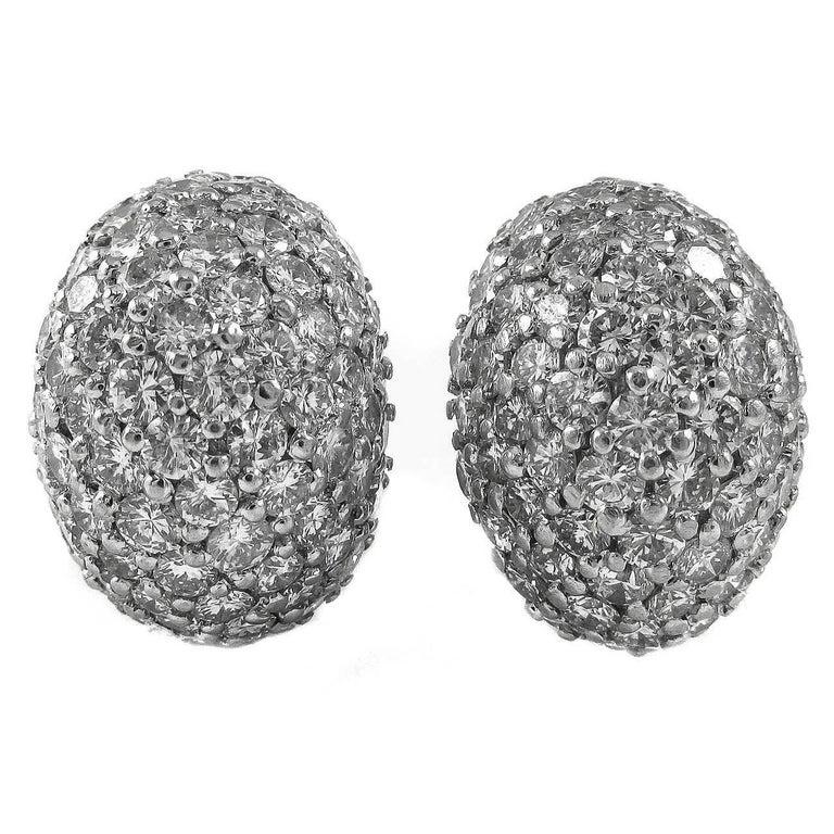 1960s Fine Diamond Platinum Bombe Ear Clips