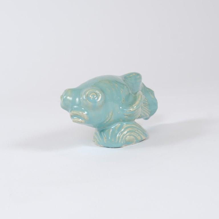 Scandinavian Modern 1960s Finnish Betta Fish Sculpture by Michael Schilkin for Arabia For Sale