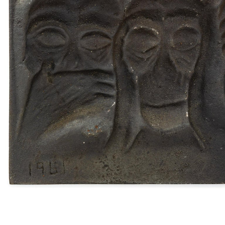 1960s Finnish Cast Iron Plaque by Michael Schilikin for Arabia In Good Condition For Sale In Sagaponack, NY