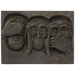 1960s Finnish Cast Iron Plaque by Michael Schilikin for Arabia