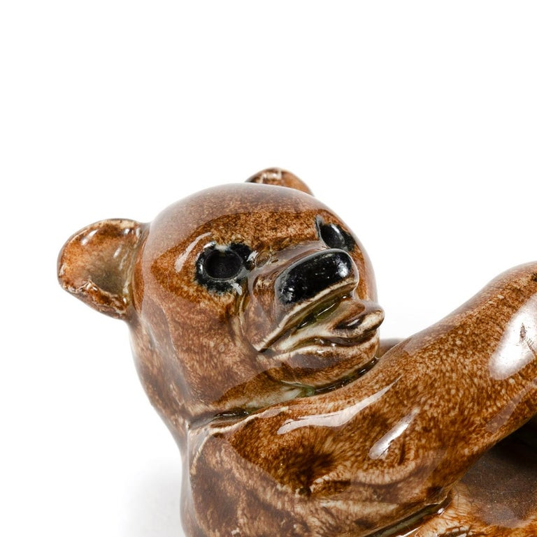 Glazed 1960s Finnish Ceramic Bear Figurine by Arabia For Sale