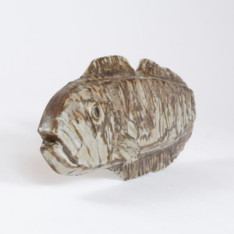 Glazed 1960s Finnish Fossilized Fish Sculpture by Taisto Kaasinen for Arabia For Sale