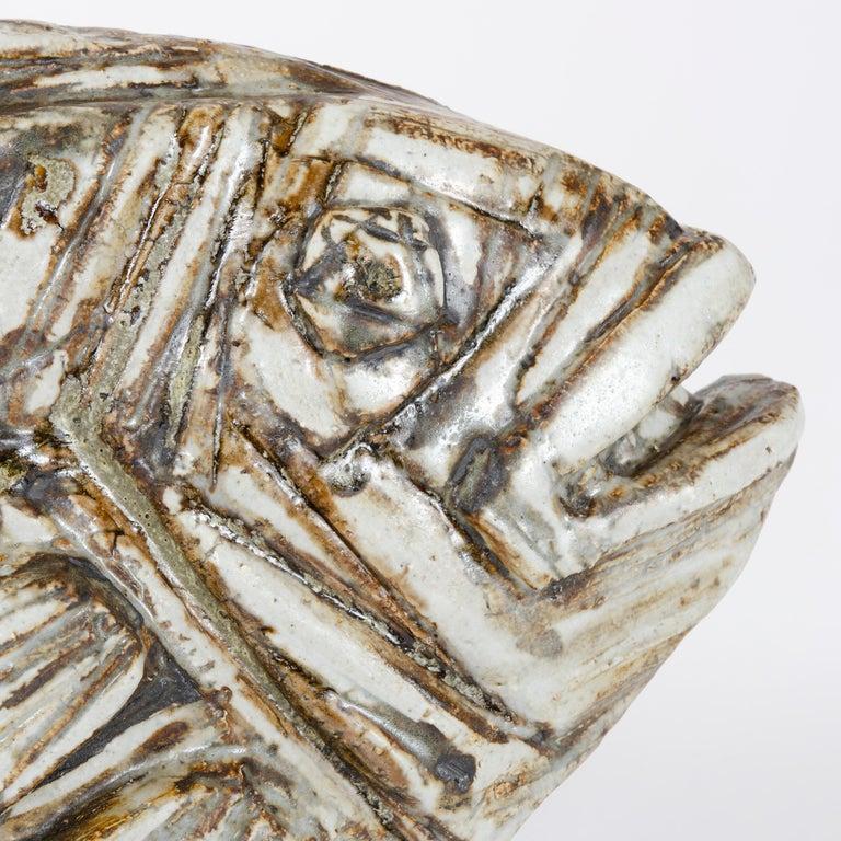 Scandinavian Modern 1960s Finnish Fossilized Fish Sculpture by Taisto Kaasinen for Arabia For Sale