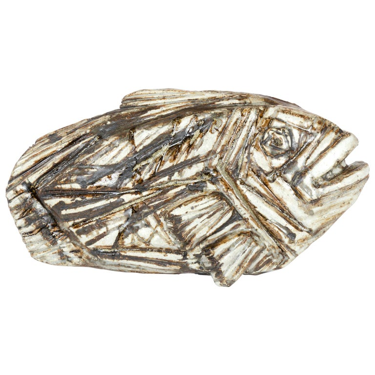 1960s Finnish Fossilized Fish Sculpture by Taisto Kaasinen for Arabia For Sale