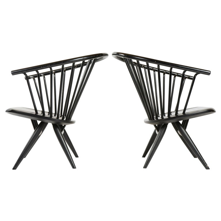 1960s Finnish Pair of Crinolette Lounge Chairs by Ilmari Tapiovaara for Asko For Sale