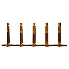 1960s, Five Hollywood Regency Polished Brass Table Lamps by Örsjö, Sweden