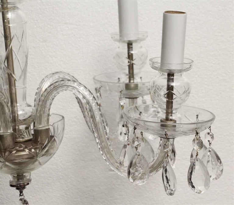 Mid-20th Century 1960s Five-Light Crystal Chandelier For Sale