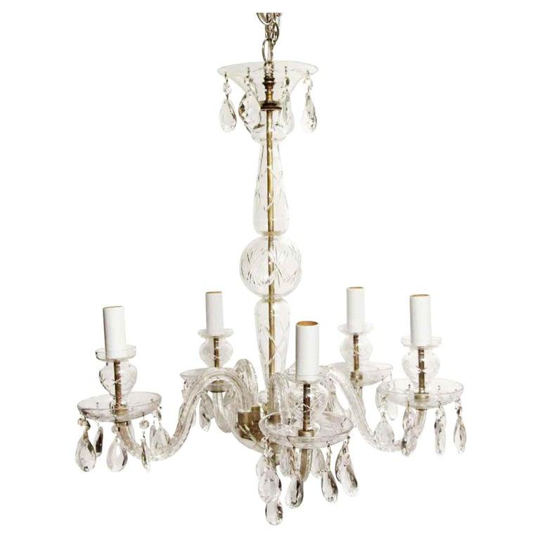 1960s Five-Light Crystal Chandelier For Sale