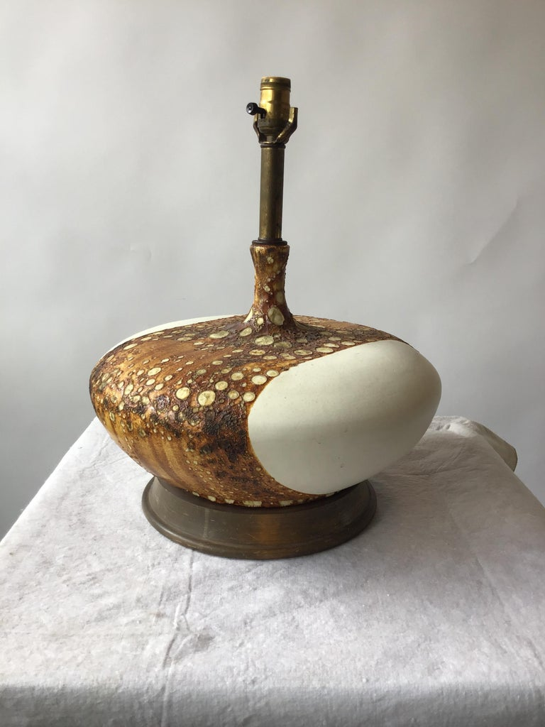 1960s Flattened Matte White Ceramic Lamp with Textural Glaze 2