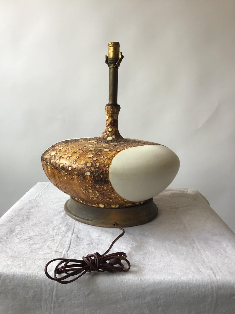 1960s Flattened Matte White Ceramic Lamp with Textural Glaze 4
