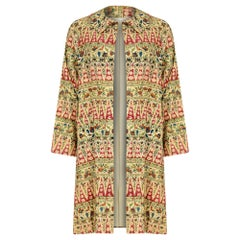 1960s Floral Block Print Swing Overcoat