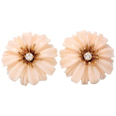 1960s Floral Coral Diamond 14 Karat Gold Clip-Back Earrings