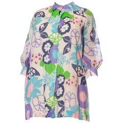 1960S Floral Cotton Lawn Mod Lounge Jacket Mini Dress