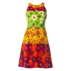 1960S Floral Cotton Mod Dress
