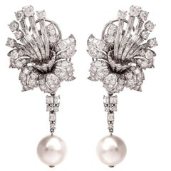 1960s Floral Diamond Cluster Day and Night Drop Earrings