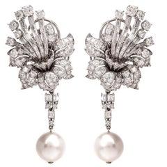 1960er Jahre floral Diamant Cluster Tag und Nacht Ohrhänger