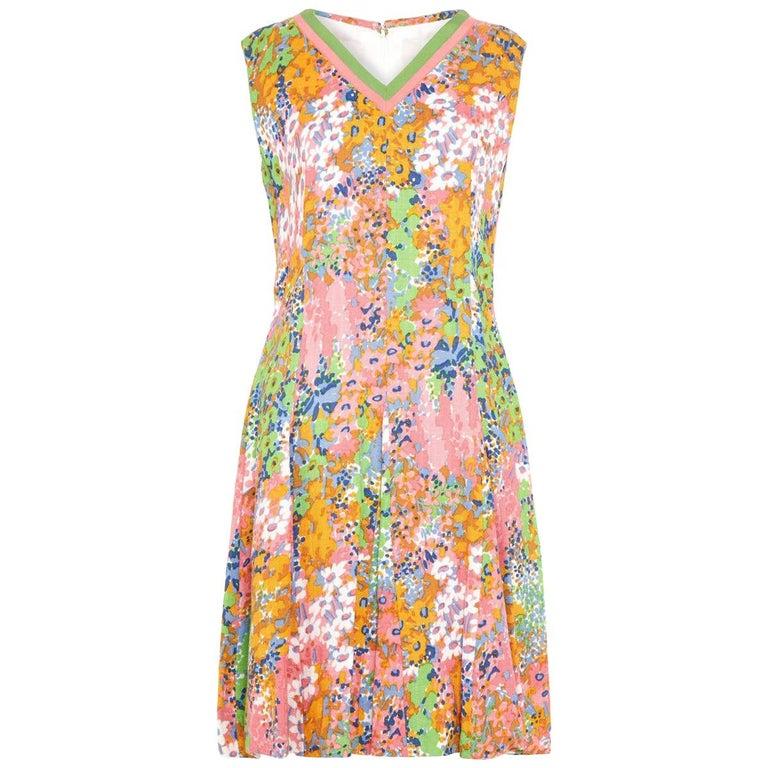 1960s Floral Print Linen Dress With Grossgrain Trim  For Sale