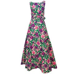 1960s Floral Printed Dress on Jacquard with Matching Belt