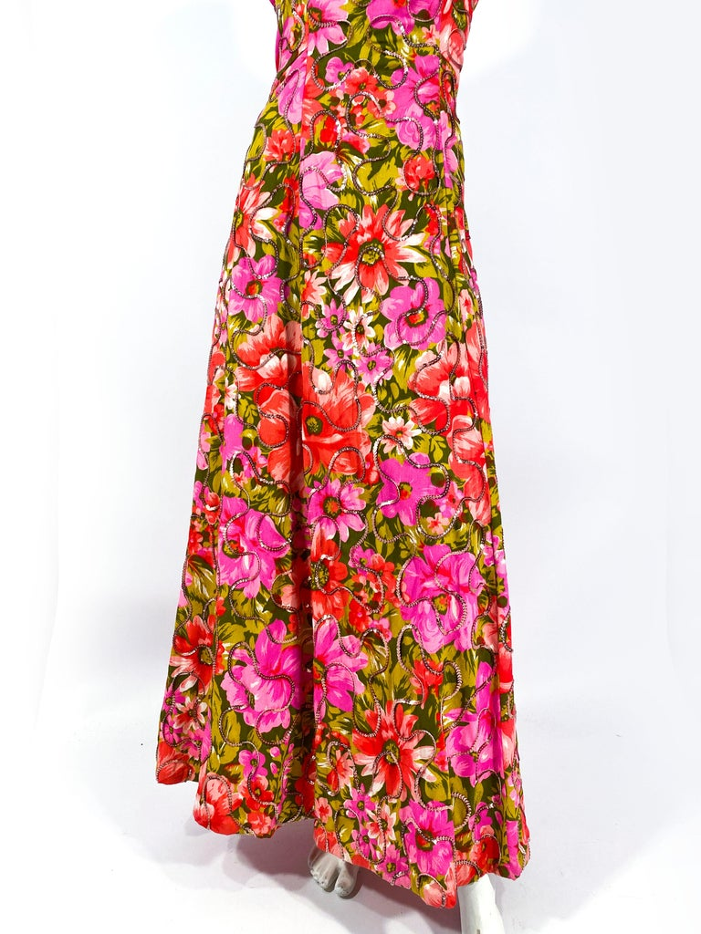 1960s Floral Printed Summer Evening Gown In Good Condition For Sale In San Francisco, CA