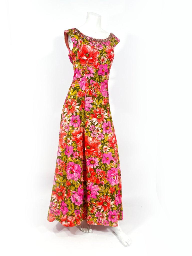 Women's 1960s Floral Printed Summer Evening Gown For Sale