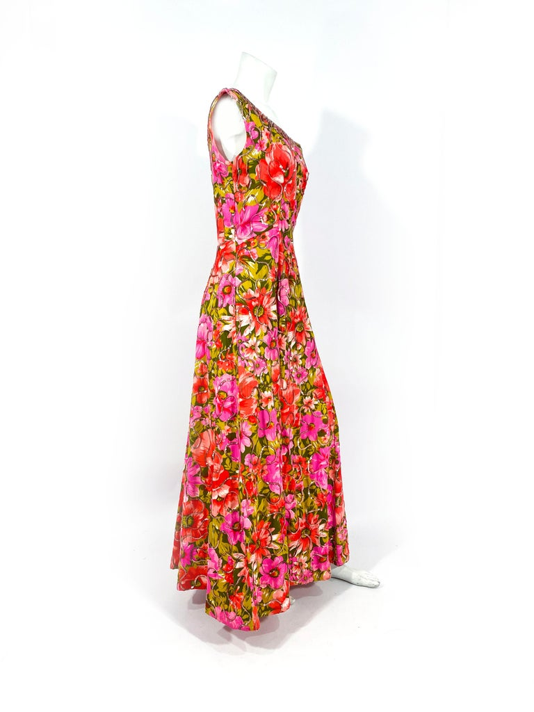 1960s Floral Printed Summer Evening Gown For Sale 1