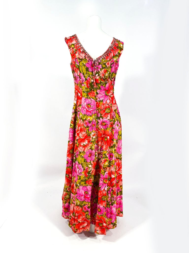 1960s Floral Printed Summer Evening Gown For Sale 2