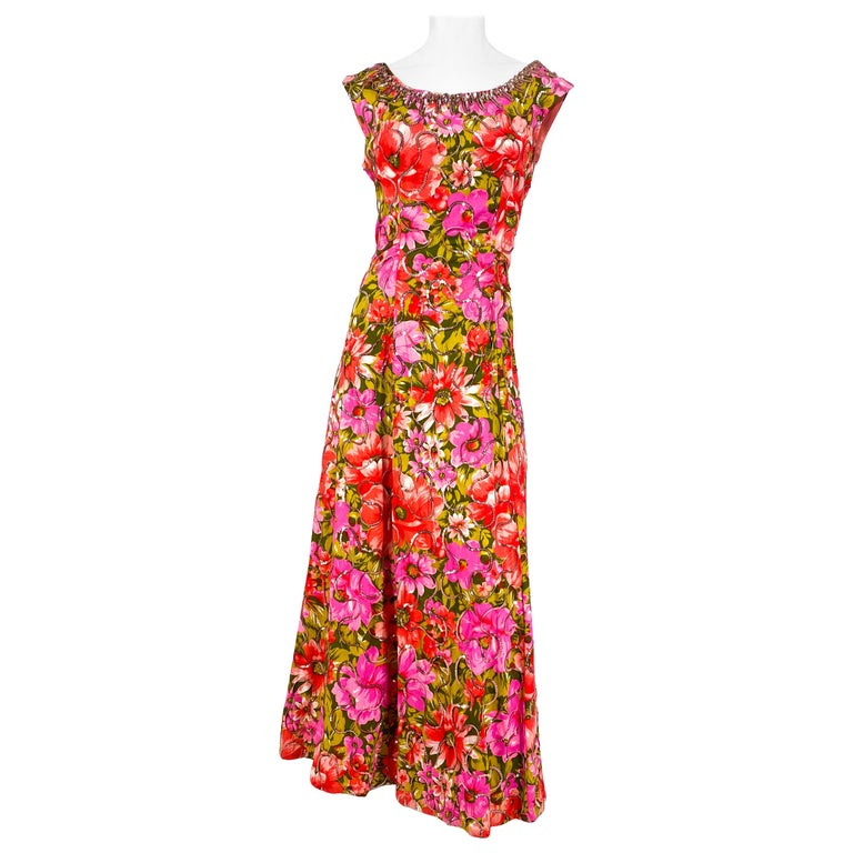 1960s Floral Printed Summer Evening Gown For Sale