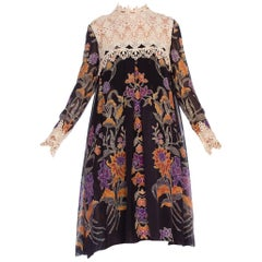 1960's Floral Sheer Chiffon Boho Dress With Lace