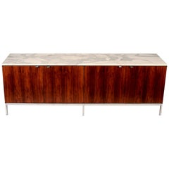 1960s Florence Knoll Calacatta Marble Top Rosewood Credenza