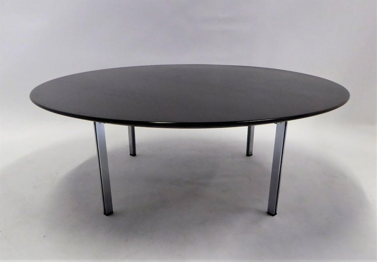 American 1960s Florence Knoll Parallel Bar Ebonized Coffee Table for Knoll For Sale