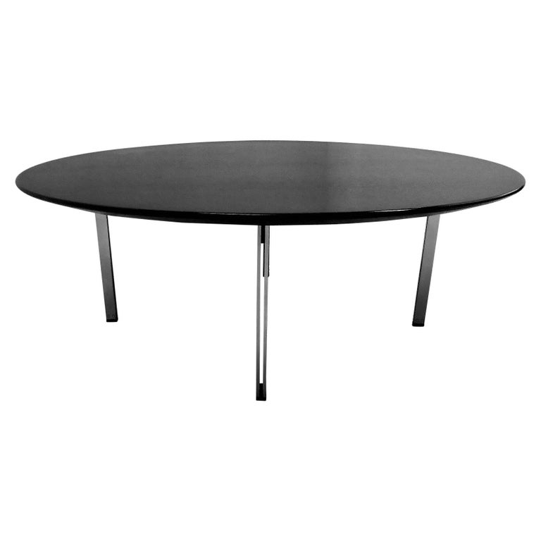 1960s Florence Knoll Parallel Bar Ebonized Coffee Table for Knoll For Sale
