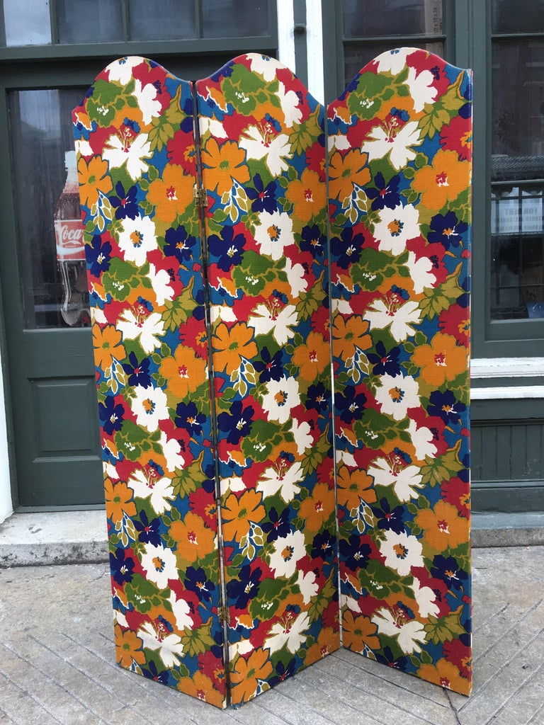 1960s Flower Fabric 3-Panel Screen For Sale 1