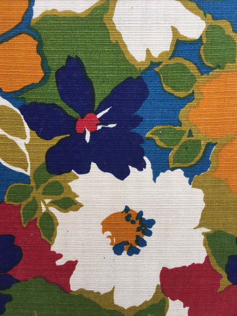 1960s Flower Fabric 3-Panel Screen For Sale 2