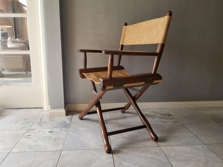 1960s Mid-Century Modern DIRECTORS chair by Gold Medal Folding Furniture Company Racine WI Gold Medal Camp Furniture Original maker's metal tag present. Walnut frame -contoured legs- brass hardware - compact and lightweight Director- safari style