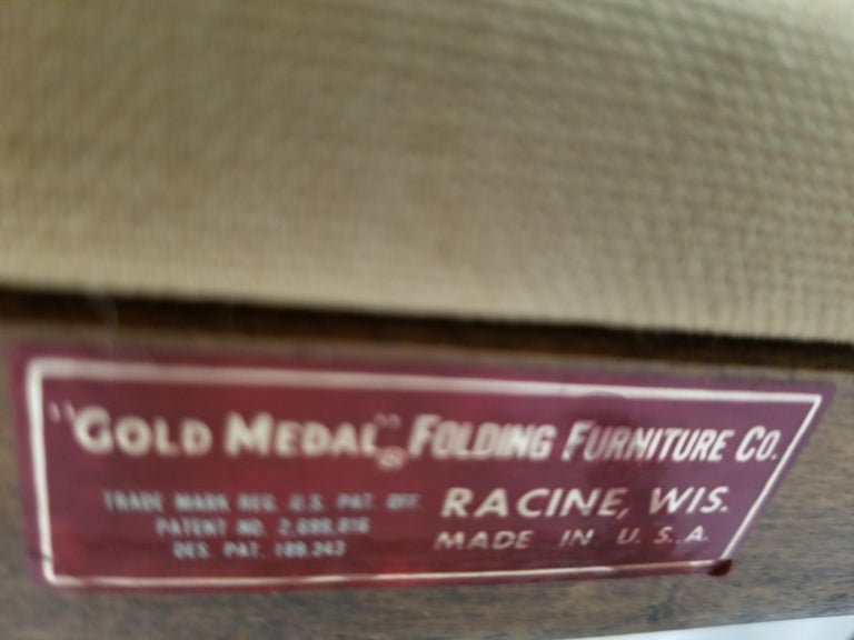 American 1960s Foldable DIRECTORS Safari Chair by Gold Medal Folding Furniture Racine WI For Sale