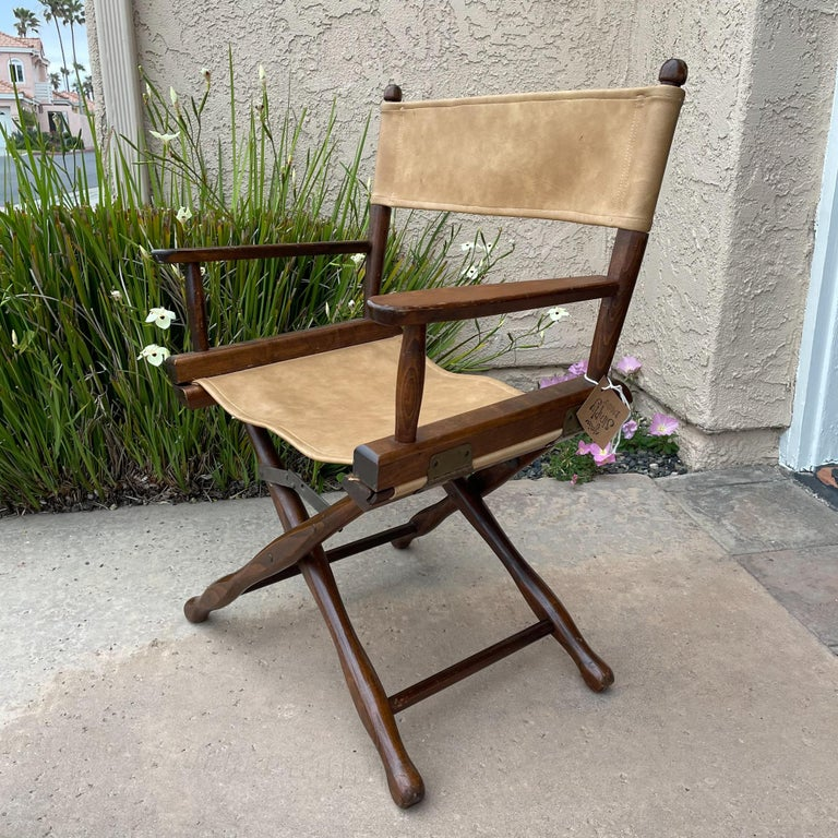 Brass 1960s Foldable DIRECTORS Safari Chair by Gold Medal Folding Furniture Racine WI For Sale
