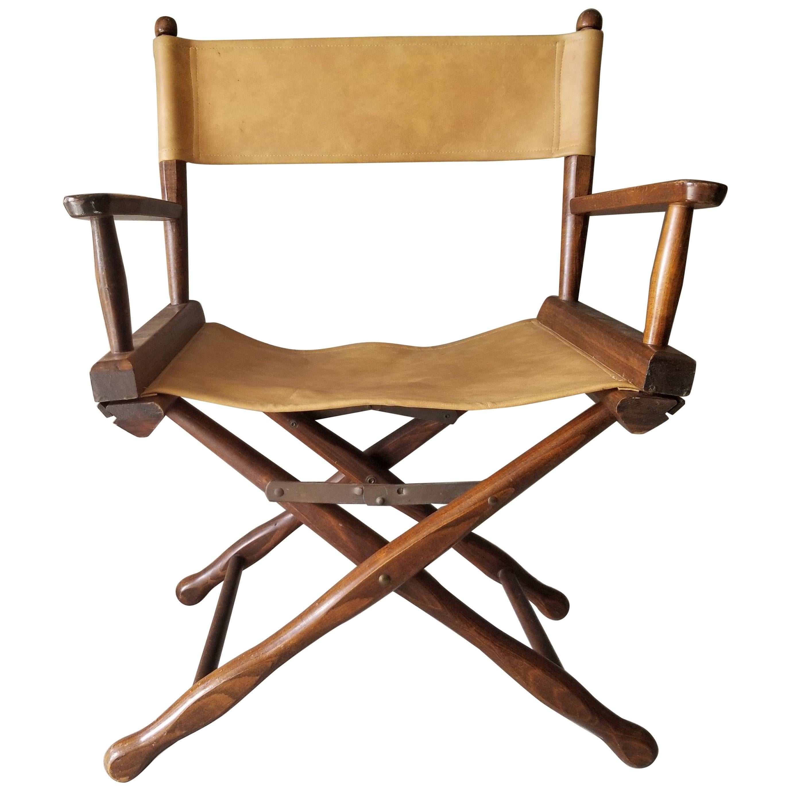 1960s Foldable DIRECTORS Safari Chair by Gold Medal Folding Furniture Racine WI