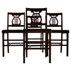 1960s Folding Mahogany Dining Chairs, Set of 4
